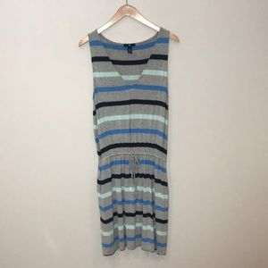 GAP gray striped drawstring waist sundress